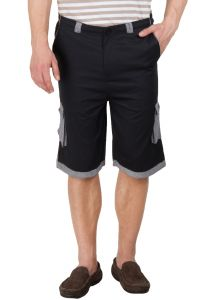 Hypernation Black 3/4 Cotton Shorts Hypm0349