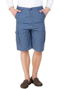 Hypernation Blue And White Color Check Cotton Three Fourth For Men