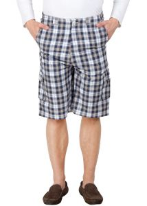 Hypernation Beige And Off White Check Cotton Three Forth For Men