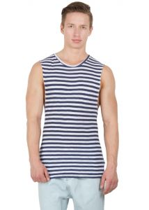 Hypernation Navy Blue And White Stripe Round Neck Cotton Muscle T-shirt.