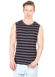 Hypernation Black And Grey Color Stripe Round Neck Cotton Muscle T-shirt