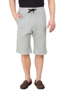 Hypernation Grey Color Casual Cotton Three Fourth For Men