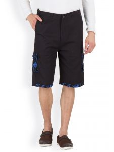 Hypernation Black 3/4th Cotton Shorts Hypm0373
