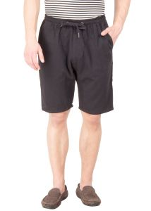 Hypernation Black Twill Cotton Shorts Hypm0379
