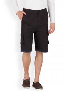 Hypernation Black Three Fourth Cotton Shorts