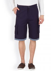 Hypernation Blue 3/4th Cotton Twill Shorts Hypm0401
