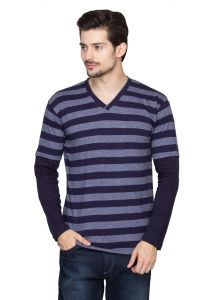 Hypernation Blue And Grey Stripe V-neck Cotton T-shirt