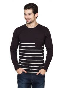 Hypernation Black-ecru Stripe Round Neck Cotton T-shirt