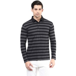 Hypernation Black And Grey Stripe Polo Cotton T-shirt