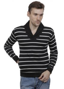 Hypernation Black And White Color Striped Shawl Collar Cotton Mens T-shirt