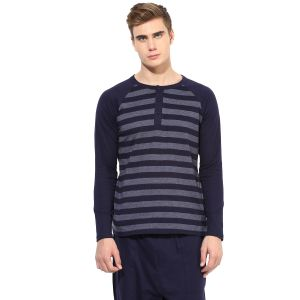 Hypernation Blue And Grey Stripe Henley Neck Cotton T-shirt