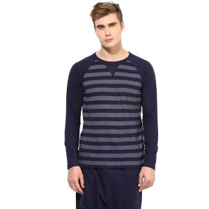 Hypernation Blue And Grey Stripe Round Neck Cotton T-shirt For Men