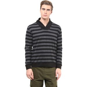 Hypernation Black And Grey Stripe Cotton T-shirt For Men