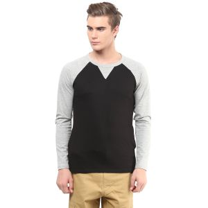 Hypernation Black Body With Light Grey Raglan Sleeve Cotton T-shirt For Men