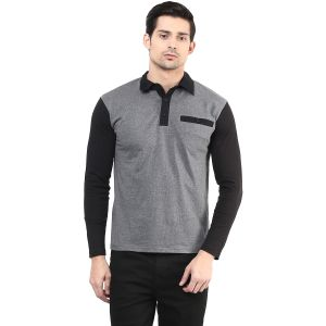 Hypernation Dark Grey Body With Black Sleeve Polo Cotton T-shirt For Men.