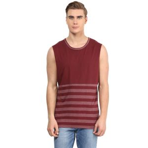 Hypernation Maroon And Grey Round Neck Cotton Muscle T-shirt
