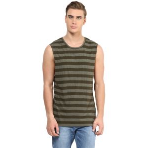 Hypernation Military Green Round Neck Cotton Muscle T-shirt