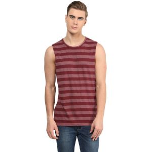 Hypernation Maroon Round Neck Muscle Cotton T-shirt