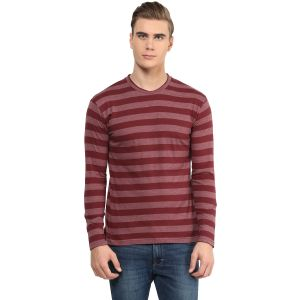 Hypernation Maroon Round Neck Cotton T-shirt