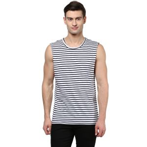Hypernation Striped Men Round Neck Muscle T-shirt