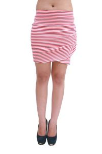 Hypernation Pink And White Color Stripped Skirt For Women