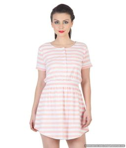 Hypernation Pink And White Color Stripped Half Sleeves Stylish Dress