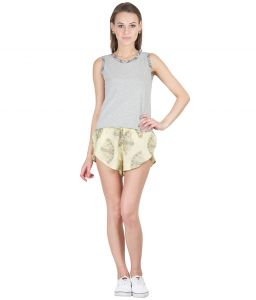 Hypernation Gold With Black Print Rayon Hot Pants For Women
