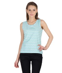 Hypernation Blue Zig Zag Print Round Neck Sleeveless Cotton Top For Women