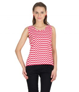 Hypernation Red Zig Zag Print Round Neck Cotton Top For Women