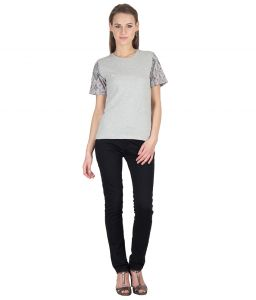 Hypernation Grey Color Round Neck With Printed Sleeves Cotton T-shirt