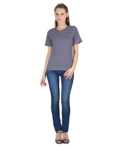 Hypernation Blue And Grey Stripe Round Neck Cotton T-shirt For Woman