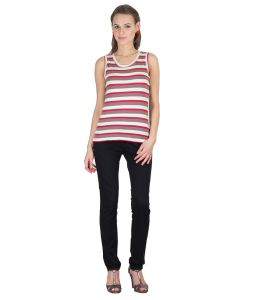 Hypernation Red,brown And White Color Round Neck Stripe Top For Woman