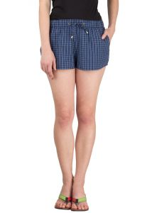 Hypernation Blue Check Cotton Hot Pant
