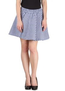 Hypernation Blue Check Cotton Skirt