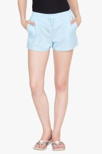 Hypernation Turq Check Cotton Shorts