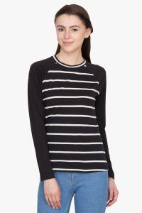 Hypernation Black And White Stripe Round Neck Cotton T-shirt