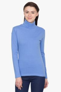 Hypernation Blue Turtle Neck Cotton T-shirt