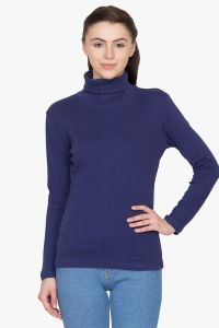 Hypernation Navy Blue Color High Neck Full Sleeve T-shirt For Women