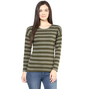 Hypernation Olive Stripe Round Neck Cotton T-shirt