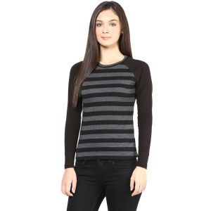 Hypernation Black And Stripe Round Neck Cotton T-shirt