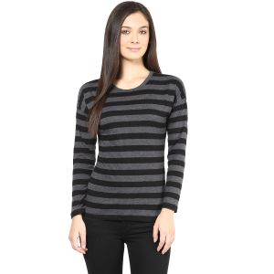 Hypernation Black And Grey Stripe Cotton T-shirt For Women
