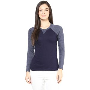 Hypernation Navy Body And Grey Raglan Sleeve Round Neck Cotton T-shirt