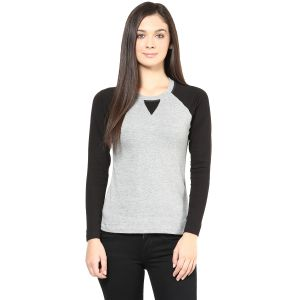 Hypernation Light Grey Body With Black Raglan Sleeve Cotton Women T-shirt