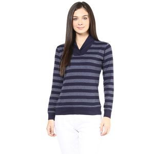 Hypernation Navy And Grey Stripe Shawl Collar Cotton T-shirt For Women