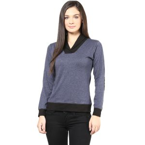Hypernation Grey Body With Black Collar And Cuff Cotton T-shirt For Women.