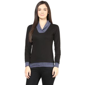 Hypernation Black Body With Grey Collar And Cuff Cotton T-shirt For Women