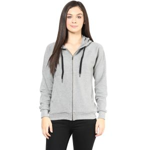 Hypernation Grey Color Front Open Jacket For Women