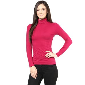 Hypernation Red Color High Neck Cotton T-shirt For Women