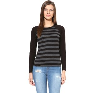 Hypernation Black And Grey Stripe With Black Raglan Sleeve Cotton T-shirt