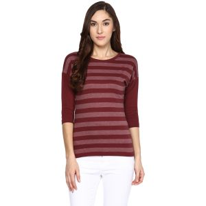 Hypernation Striped Women Round Neck T-shirt_hypw0606
